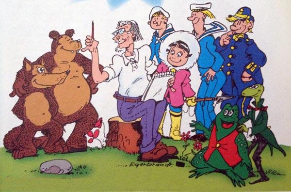 """Nisse med """"sina"""" figurer, från höger, Mickel och Mackel, Frisk och Rask, Olli, Kalle Stropp och Grodan Boll och 91:an."""